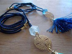 fabric,tassels & sea glass See Photo, Sea Glass, Tassel Necklace, Tassels, Pretty, Fabric, Pictures, Blue, Jewelry
