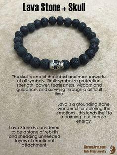 Tendance Bracelets  FEARLESS ENERGY: Lava Stone  Skull Yoga Mala Bead Bracelet