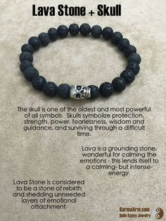 Tendance Bracelets  FEARLESS ENERGY: Lava Stone  Skull Yoga Mala Bead Bracelet  Tendance & idée Bracelets 2016/2017 Description The skull is one of the oldest and most powerful of all symbols. Skulls symbolize protection strength power fearlessness wisdom and guidance and surviving through a difficult time. FEARLESS ENERGY: Lava Stone  Skull Yoga Mala Bead Bracelet