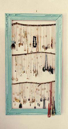 Wanderlust Vintage - Fashion Jewelry - DIY necklace display.  Keep your stuff from getting tangled!