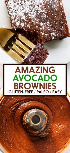 These Chocolate Avocado Brownies are dense and fudgey and have a secret ingredient that's packed with nutrients and healthy fats! Healthy Sweet Treats, Healthy Cake, Healthy Desserts, Delicious Desserts, Paleo Sweets, Paleo Dessert, Dessert Recipes, Chocolate Avocado Brownies, Healthy Chocolate