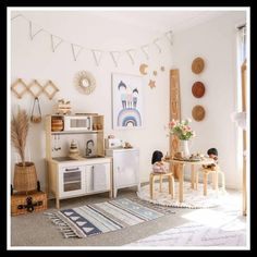 Home Decoration Ideas Interior Design This kids bedroom idea is such a cute design! Absolutely loving the decor and how the statement bed frame anchors the space while the cute furnishing and rattan accent elements gives a nice pop of color and texture! Montessori Playroom, Toddler Playroom, Montessori Materials, Montessori Toddler, Toddler Toys, Toddler Girl, Playroom Design, Playroom Decor, Playroom Ideas