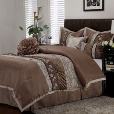 The romantic Riley Bed Set includes a comforter, bedskirt, 2 shams, and 3 decorative pillows. The pieced comforter features a solid taupe top. King Comforter, Comforter Sets, Cal King Size, Best Bedding Sets, Best Pillow, Bed Spreads, Bedding Shop, Brown And Grey, Comforters