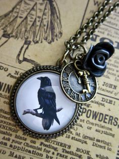 Steampunk Raven Necklace  Gothic Crow Cabochon by DubiousDesign, £11.99