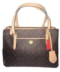 471b763f63  saucy Coach Peyton Brown Signature Double Zip Carryall – Style 26187 Coach  Handbags