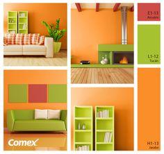 Una muy buena propuesta de cómo aplicar el naranja para transformar tu espacio en un lugar alegre y radiante.  #decoracion #combinaciones #color #tendencias #comex