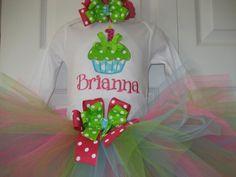 Boutique First Birthday Cupcake monogrammed tutu by PolkaDotCloset, $36.00