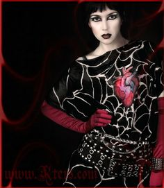 Goth dress  anatomical heart  hand painted silk tunic by Kteis, $104.00