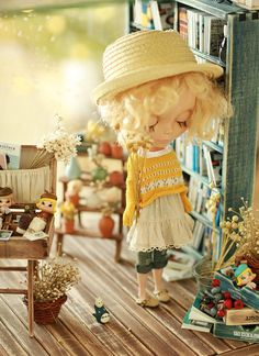 Pre-order - Miss yo 2015 Spring & Summer - Vintage Hollow Pattern Sweater for Blythe / JerryBerry doll - dress / outfit - Yellow