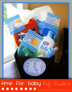 Time for Baby Gift Basket- You'll need: Basket At least one clothing item (you can add more outfits if you like) Little plastic dishes like a Sippy cup or toddler spoons Bath towel or blanket (you can also add baby shampoo or soap) Arrange your items in the basket with some tissue paper and attach the following tags to the corresponding item.  Place the clock on the front of the basket.