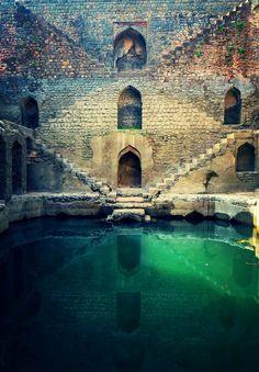 Crumbling subterranean stepwells in India