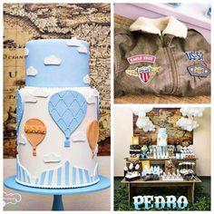 Hot air balloon up in the air themed birthday party via Kara's Party Ideas