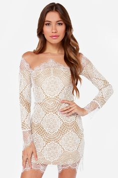 For Love & Lemons Grace Beige and White Lace Dress at LuLus.com!