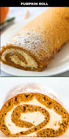 You'll love this simple, delicious pumpkin roll -- it's the perfect sweet treat to enjoy this fall! An easy homemade pumpkin sheet pan cake combines with a silky cream cheese filling, cinnamon, and powdered sugar Pumpkin Recipes, Fall Recipes, Holiday Recipes, Köstliche Desserts, Delicious Desserts, Dessert Recipes, Cake Roll Recipes, Pumpkin Cheesecake Roll Recipe, Pumpkin Bread