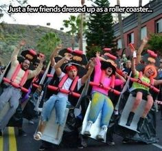 Friends dressed up as a roller coaster!