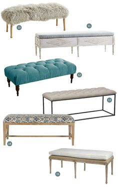 Upholstered benches are great at the end of a bed, along a long hallway, or in a corner of the living room. A little extra soft seating is always a nice thing to have, and they're great in a pinch when you have guests in need of a place to perch. The upholstered benches below would be great options if you've been thinking about adding one to your home. They may even inspire to you find a spot for one! (For our favorite unupholstered benches, see  part one of this article.)