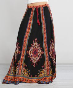 Look at this #zulilyfind! Black & Red Floral Maxi Skirt by Flying Tomato #zulilyfinds