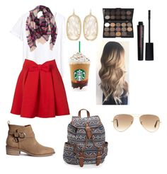 """Fall is comin' 😆"" by pinterestemily on Polyvore featuring H&M, Kendra Scott, Smashbox, Aéropostale and Ray-Ban"