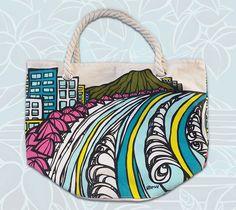 Waikiki Coastline Rope Handle Tote Bag