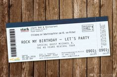 """Konzertkarte als Einladungskarte """" Rock My Birthday """""""