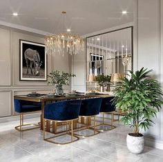 Cool 30 Modern Dining Room Design Ideas That Are Comfortable Elegant Dining Room, Luxury Dining Room, Dining Room Design, Dining Room Furniture, Dining Rooms, Dining Tables, Round Tables, Dining Room With Mirror, Dining Room Modern
