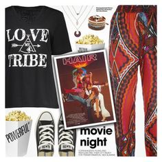 """""""Bring the Popcorn: Movie Night"""" by pokadoll ❤ liked on Polyvore featuring Monday, Converse, Hedi Slimane, movieNight, polyvoreeditorial and polyvoreset"""