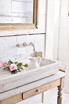 Color scheme and materials for master vanity. Add drawers and an under counter sink. Love this tap in the wall 💗💗💗