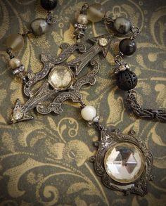 Dark Skies-Antique Victorian Rhinestone Brooch Assemblage Necklace by Opaline1214 on Etsy https://www.etsy.com/listing/241458214/dark-skies-antique-victorian-rhinestone