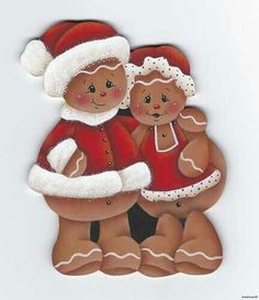 Gingerbread Mr and Mrs Claus, adorable Christmas Yard Art, Christmas Wood, Christmas Projects, All Things Christmas, Holiday Crafts, Xmas, Gingerbread Ornaments, Gingerbread Decorations, Christmas Gingerbread