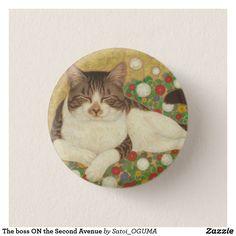 Sleeping tabby cat Pinback Button by Satoi Oguma.