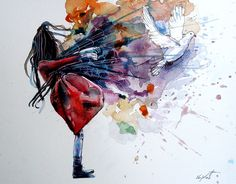 artmonia:  Leaving The Body by Vajda Tamás Watercolor