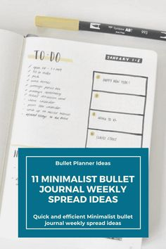 I love bullet journaling and I love creating beautiful spreads but sometimes I just don't have time to sit and draw up an elaborate layout. This list is perfect for when you are extremely short on time. Create a minimalist weekly bullet journal spread FAST so you can get to using it. Click to read more. Bullet Journal For Beginners, January Bullet Journal, Bullet Journal Monthly Spread, Bullet Journal Hacks, Bullet Journal How To Start A, Bullet Journal Themes, Bullet Journal Inspiration, Bullet Journals, Journal Ideas
