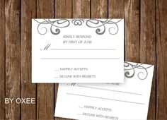 Printable wedding RSVP card template  Silver curly heart by Oxee, $7.00