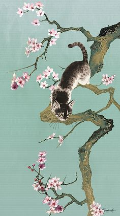 """The cat that brings good fortune (""""Zhao Cai Mao"""") is a concept that originated in Japan with the Maneki Neko (Fortune Cat). The significance of the cherry blossom tree and the lucky cat in Japanese art and culture goes back hundreds of years. Japanese Cherry Tree, Japanese Blossom, Blossom Tree Tattoo, Blossom Trees, Tattoo Tree, Tattoo Chat, Tattoo Ink, Arm Tattoo, Lucky Cat Tattoo"""
