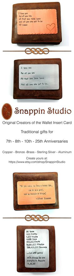 Wallet Insert Cards customized in bronze, copper, aluminum brass and sterling silver. Perfect gift for your loved one! Very unique! 2-4 business day turnaround time.