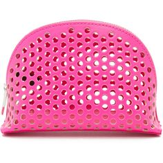 Loeffler Randall Small Cosmetic Case found on Polyvore featuring beauty products, beauty accessories, bags & cases, bright fuchsia, cosmetic purse, make up bag, travel kit, travel toiletry case and make up purse