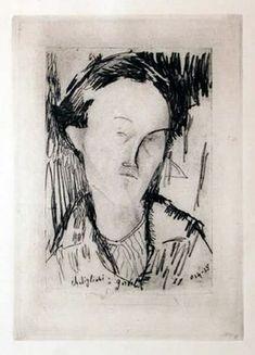 Amedeo Modigliani (It, - Portrait - circa 1965 - Etching Life Drawing, Figure Drawing, Light Blue Eyes, Etching Prints, Amedeo Modigliani, Face Art, Art Faces, Art Society, Art Moderne