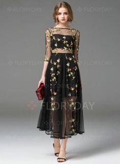 Dresses - $82.03 - Chiffon Floral 3/4 Sleeves Maxi Vintage Dresses (1955098050)