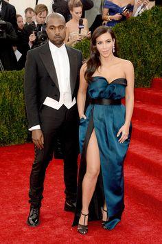 2014 #MetGala Fashion: Kim Kardashian in Versace and Kanye West
