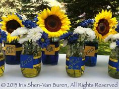 Centerpiece Ideas Using Mason Jars | Personalized Mason Jar Floral Centerpieces Graduation Party Centerpieces, Graduation Decorations, Reunion Decorations, Banquet Decorations, Graduation Ideas, Graduation Flowers, Graduation Party Themes, 8th Grade Graduation, Graduation Open Houses