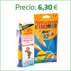 Promociones activas únicamente en la Farmacia hasta fin de existencias | Pasta de dientes Fluor Kin + regalo 12 lápices Bic Kids.