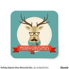 Holiday Hipster Deer Mustache Glasses Pipe Square Sticker