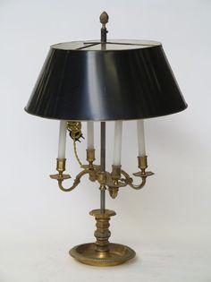 Cool Lampe bouillote quatre lumi res abat jour en t le verte style R gence