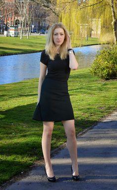 Gray Skirt & Black Tee
