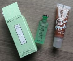 GlossyBox Review – October 2013 Balance Me Shine On Tinted Lip Salve in Super Soft Beige – FULL SIZE! Value $16.50  Bulgari's Eau Parfumée Au Thé Vert Eau de Cologne – 5 ml Value $5.75