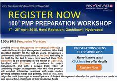 http://burl.co/4FDECA7 http://proventuresindia.com/home/program-calendar/100th-pmp-workshop.html  100th PMP Preparation Workshop Hyderabad Registrations open till 3rd April 2015.