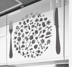 #Kitchen #Stickers - Illustration collage of various kitchen #tools and #food. Ideal for adding a touch of colour to your kitchen. #Decorate your kitchen appliances, walls and cupboards wit #tenstickers