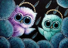 TINY BABY ANGELS OWLS - RAIN IN HEAVEN - by Cyra R. Cancel from