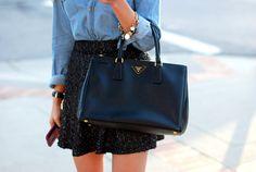 denim shirt # pailletten skirt # work outfit