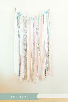 Floral Multi- Color Fabric Backdrop Streamers. $85.00, via Etsy.
